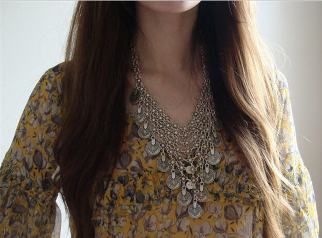 Vintage Bohemian Ethnic Antalya Silver Turkish Gypsy Boho Coachella Beach Choker Bib Coin Necklace Women India Boho Jewelry