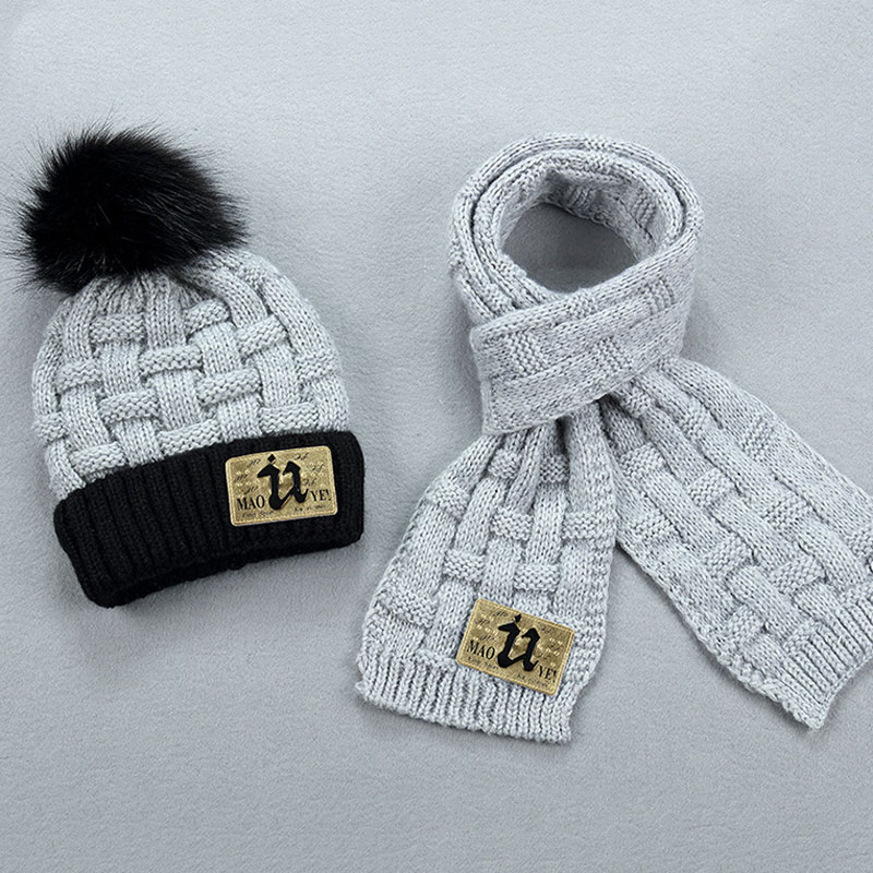 Kids Winter Fleece Lined Knit Hat Scarf Set Patch U Thick Plaid Beanie Scaft For Girls 3-10 Yrs