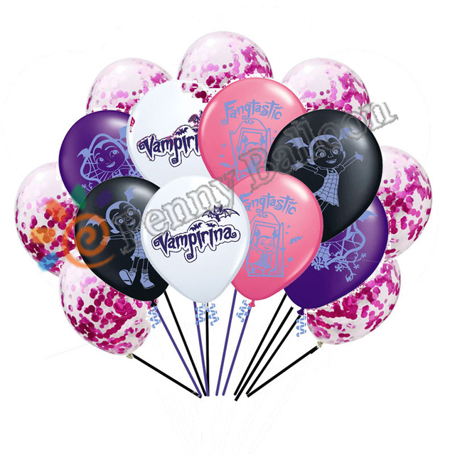 Wholesale 15pcs Lot Vampirina Latex Balloons Confetti 12 Happy Birthday Decorations Toys For
