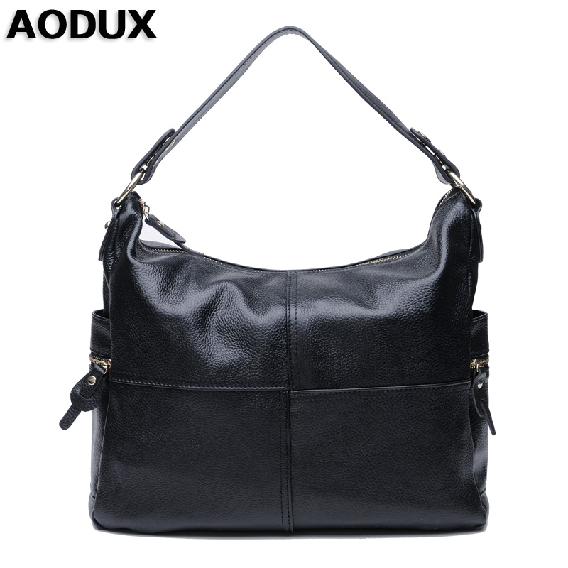 AODUX Top Layer Genuine Cow Leather Women Shoulder Crossbody Bag Handbags Real Leather Long Shoulder Strap Messenger Bags