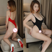 Sexy Women Thin Milk Ice Silk See Through High Cut Bodysuit Thong Backless Transparent Erotic Lingerie Catsuit Leotard F8