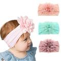 Новая милая мягкая эластичная шифоновая повязка на голову с цветами для новорожденных широкие нейлоновые повязки на голову для младенцев и...