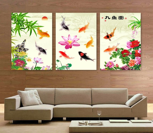 Aliexpress Com Buy Free Shipping 3 Piece Wall Decor: Aliexpress.com : Buy Free Shipping Koi Fish Wall Art