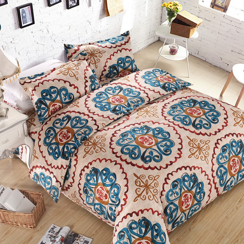 Home textile,Reactive Print bedding sets luxury include Duvet Cover Bed sheet Pillowcase,King Queen Full size 109 - Natali Colthes Co.,LTD store
