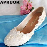 HANDGEMAAKTE zoete trouwschoenen vrouwen klaar in voorraad plus maten vrouwen trouwschoenen wit vrouwelijke dames party proms schoenen