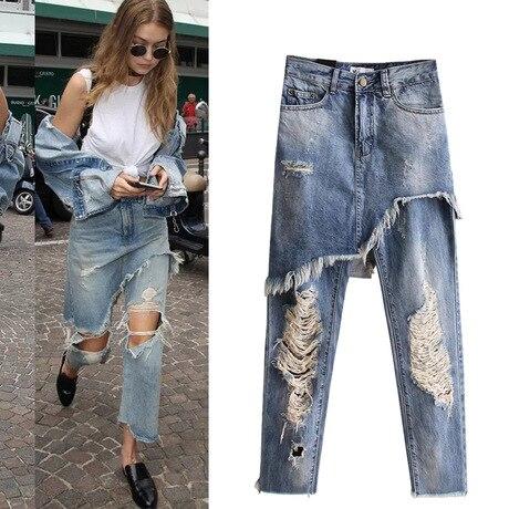 de812f7c598c3 100% Cotton Full Length Pants White Ripped Stretch Skinny Boyfriend Jeans  For Women Plus Size Wide Leg Pants 016