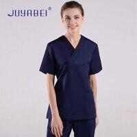 Summer Hospital Laboratory Medical Uniform Care Scrub Clothes Short Sleeve Coat Doctor Nurse Clothing Brush Handmade Clothing