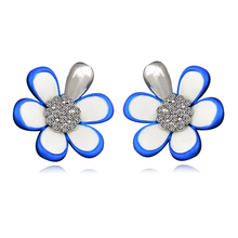 2019 Handmade Fashion Cute Anti-allergy Shiny CZ Flower Stud Earrings for Women Jewelry E00960
