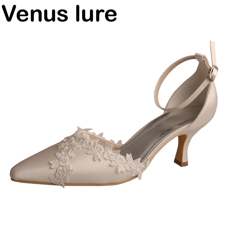 Cheville sangle ivoire Satin mariage pour demoiselles d'honneur chaussures bout pointu femmes pompes