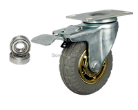 Free Shipping Caster Solid Rubber Tire Trolley Wheel Bearing Caster Universal Mute Round Wheel Small Carts