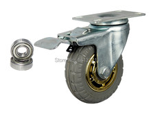 on piece caster solid rubber tire trolley wheel bearing caster universal mute round wheel small carts medical bed wheel(China)