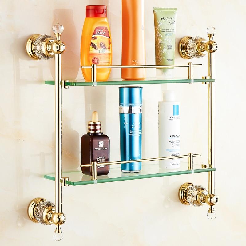 European Gold Polished Brass Crystal Bathroom Shelf Luxury Glass Shelf Towel Holder Bathroom Accessories Products HW european brass