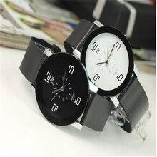 Новый Простой Кварцевые Наручные Часы Женщины/Мужчины Ретро PU Кожаный Ремешок Мода Подарок