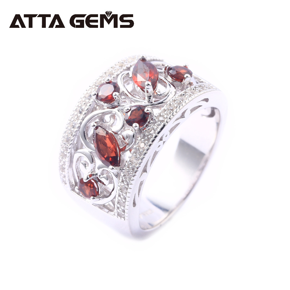 Natural Garnet Sterling Silver Rings for Women Classic Style Birthstone Special Design for Women Anniversary Jewerly