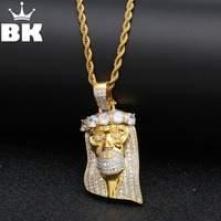THE BLING KING Gold Tone Iced Out CZ Jesus Face Piece Pendant Charm Chain Bling Bling