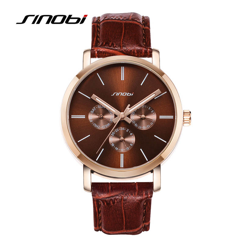 SINOBI Relogio Feminino Casual Men Watch Leather Watchband Water Resistant Rhinestone Quartz Wristwatches For Male relogio feminino just for us