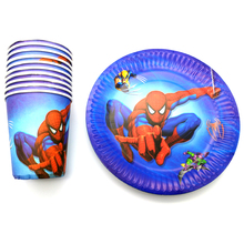 Boy Favors Spider man Theme 7 inch Plates Baby Shower Decoration Disposable Tableware Set Happy Birthday Party Cups 60pcs/pack