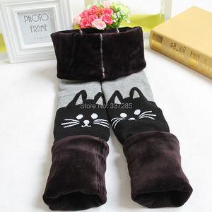 Image 2 - Girls Winter warmer pants thick hello kitty cat cotton leggings for baby girls child kids elastic waist fur warm cartton pants