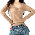 Spring Fashion Women Pullovers Knited Lantern Sleeve Buttons Cuff Wool Cashmere Slim Sweater Bottom Shirt Coat Knitwear