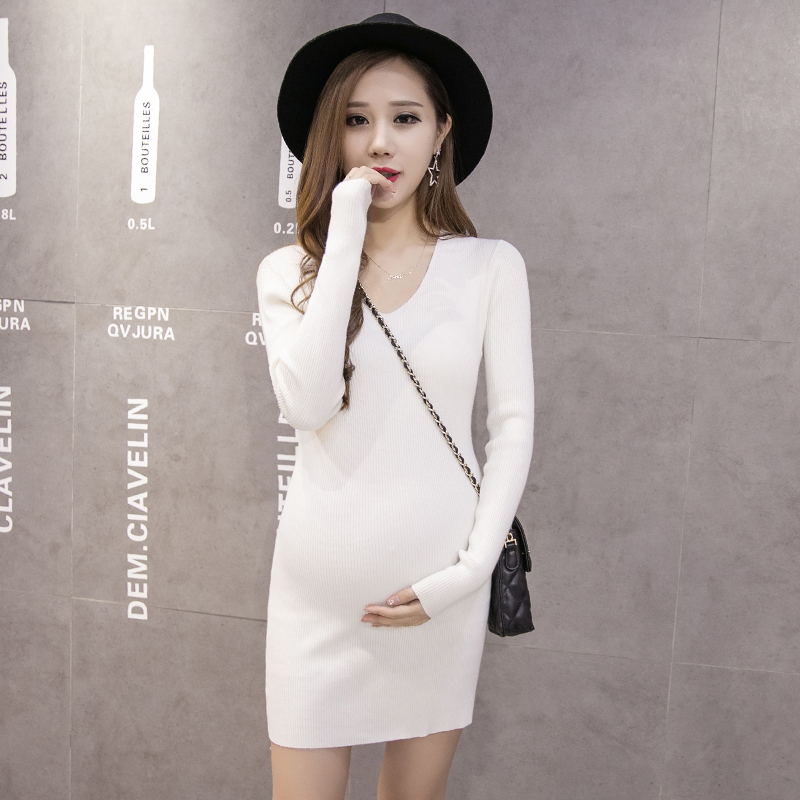 maternity clothes 2018 medium-long one-piece dress long-sleeve autumn and winter V-Neck sweater top Fashion pregnancy clothes v neck lose fitting knitting pocket long sleeve men s sweater