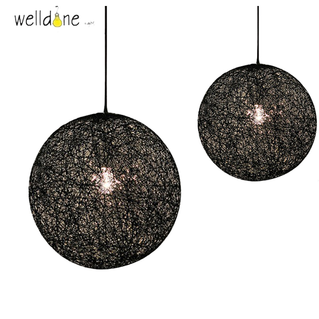 Creative Hanging Lighting Lamp Circular Black White Wrapping Yarn Linen  Thread Pendant Lamp For Bedroom Kitchen