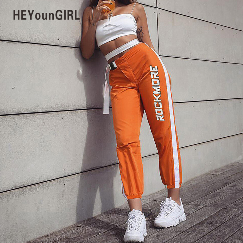 HEYounGIRL High Waist Sweatpants Women Casual Streetwear Capri Pants Womens Patchwork Track Pants Letter Print Long Trousers