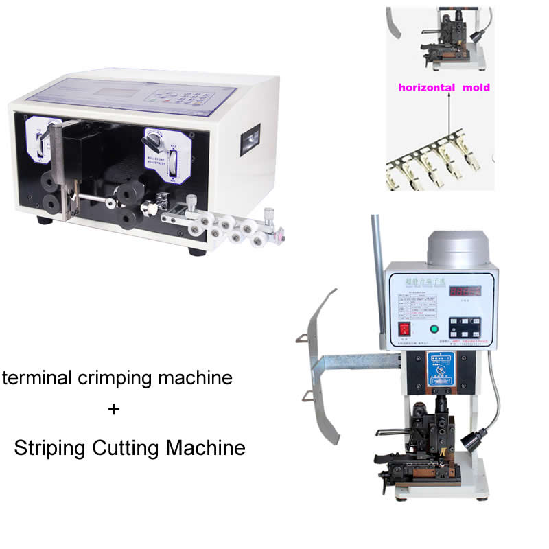 Terminal Crimper 1.5T Wire Crimping Machine with horizontal mold +SWT-508E Automatic strip wire machine 0.1 to 8mm
