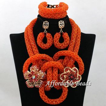 Red Gold 2 Layer Womens Nigerian African Dubi Bridal Beads Weaving Wedding Jewelry Set Beaded  Party Costume Jewelry Sets hx129