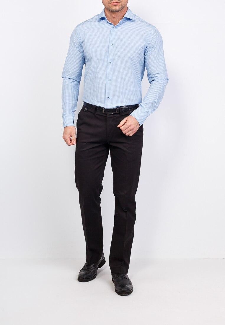 Shirt men's long sleeve GREG 245/199/1270/Z Blue plus size bird and floral print v neck long sleeve t shirt