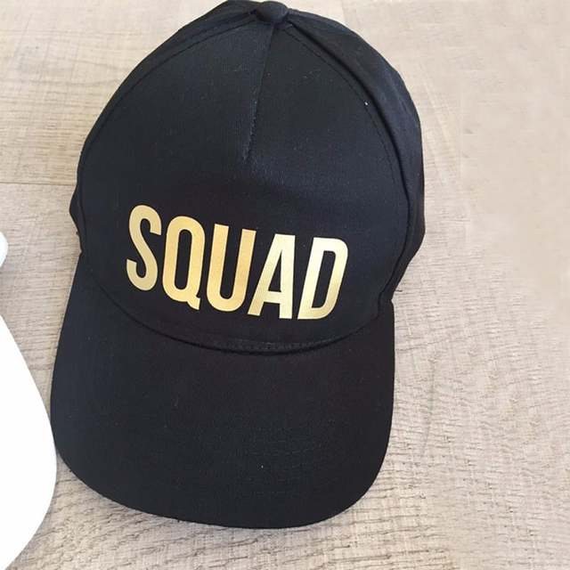 placeholder BRIDE SQUAD Baseball Caps Golden Print New Style Hats Women  Wedding Party White Black Hip Hop d6ea47e8486c