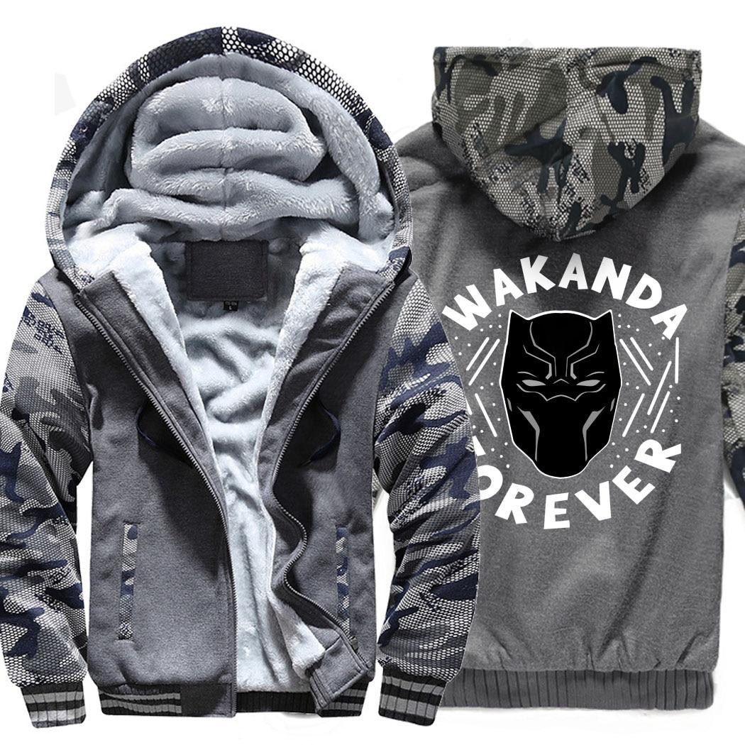fitness sportwear sweatshirts 2019 marvel Black Panther thicken jackets man Superhero winter wool liner coats men tracksuits