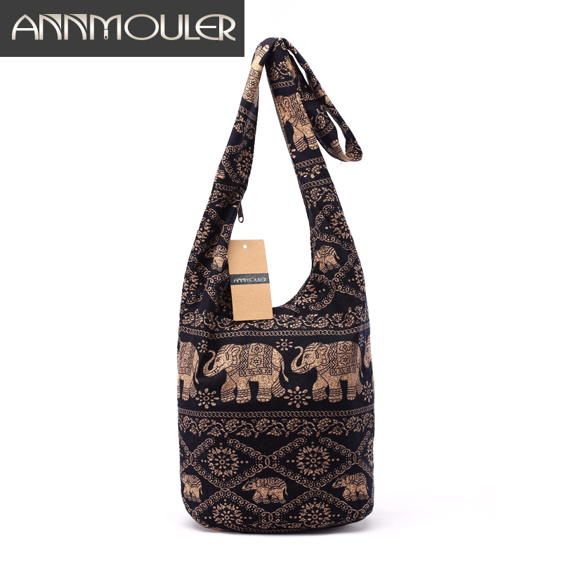 Vintage Women Mochila Cotton Shoulder Bag Bohemian Style Messenger Bag Elephant Print Crossbody Bag Bolsas Soft Ladies Bag ethnic style elephant print and black design shoulder bag for women