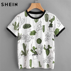 SHEIN Women Tops Summer 2017 Casual Woman T shirt Top Crew Neck Short Sleeve Cactus and Marble Print Ringer Tee