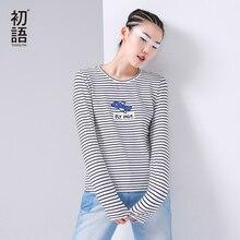 Toyouth осенние женские футболки Повседневная с длинным рукавом О-образным вырезом Хлопок Топ