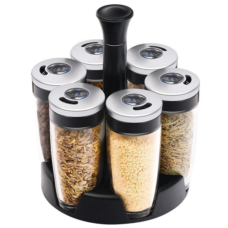 7 pièces/ensemble pot à épices rotatif Set sel et poivre épices Rack Kicthen assaisonnement boîte outils de cuisson