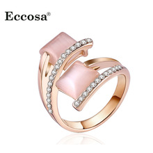 Eccosa New Design Square Opal Stone Rings For Women Rose Gold Color Austrian Crystal Anel Female Bijoux Party Wedding Jewelry