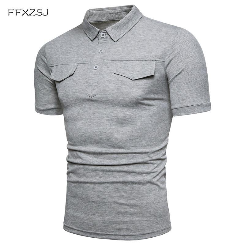 FFXZSJ 2018 Män Summer Short Sleeved Solid Color Pikétröjor Man - Herrkläder - Foto 1