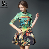 2016 Spring Summer Designer Women Dresses Green Blue Peacock Red Flower Print High Quality Dress Fashion