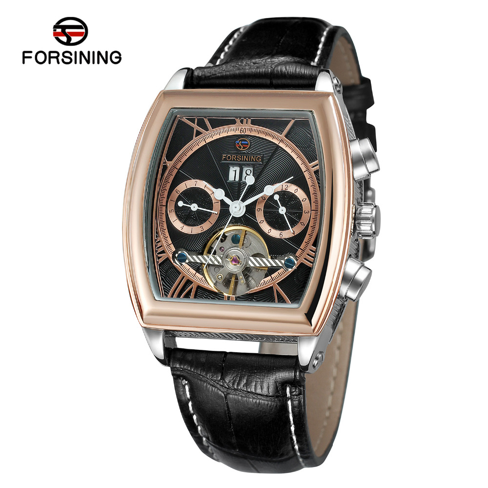 New Forsining Casual Men's Tonneau Day/Week/Month PU Leather Watches Relogio Masculino Wristwatch Gift Box Free Ship