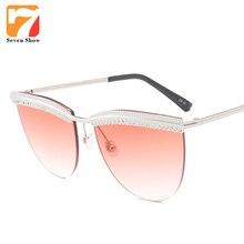 Rhinestone de la manera gafas de Sol de Las Mujeres Diseñador de la Marca de Gran Tamaño Gafas de Sol Para Damas Femenina Transparente Vintage Shades Gafas De Sol