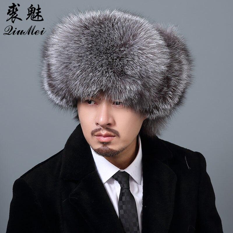 De plata de la piel de Fox de los hombres de invierno sombreros con cuero  genuino 8e34b7fc31d