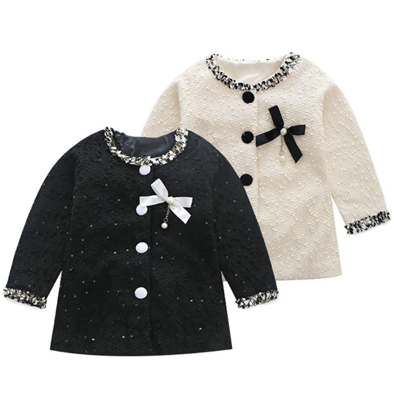 Elegant Kids Girls Cloth Autumn Children Girls Long Sleeves Sequined Bowknot Korean Fashion Coat For Kids Favorite Chrismas Gift