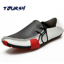 TOURSH Shoes Men Casual Leather Shoes Men Moccasin Shoes Casual 2017 Krasovki In Men'S Casuals Shoes Mens Italian Loafers Size11