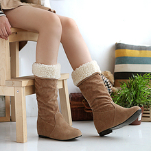 2014 new winter fashion female flat boots women's Cute pompon snow boots bow Warm thermal cotton-padded shoes big Size 34-43