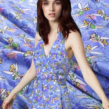 Jenny Story1986 silk fairy satinfabric satin silk satin abric Sea blue angel Clothing top grade Soft ice