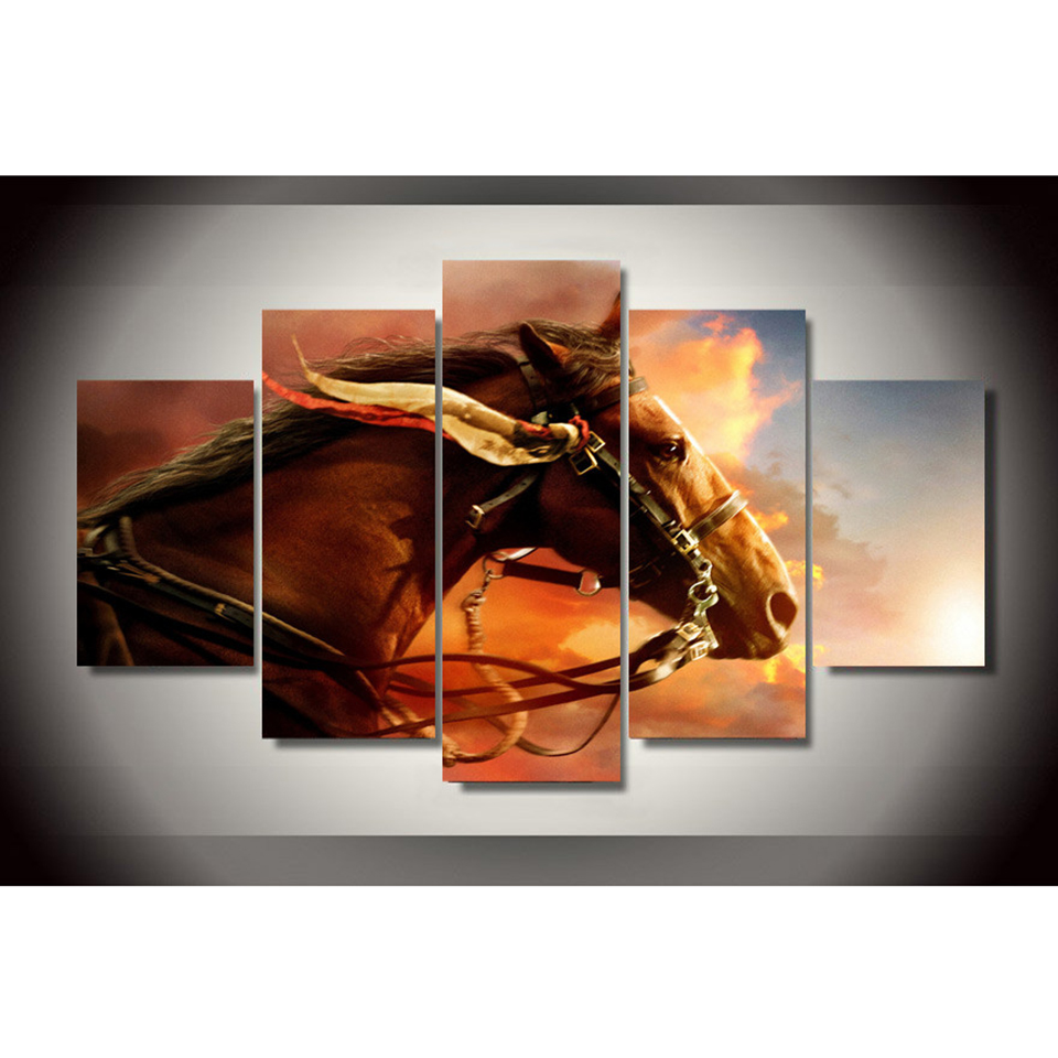 Холст HD печать плакатов стены Книги по искусству 5 панелей коричневая лошадь живопись модульные огонь облако изображение для Гостиная Home ...