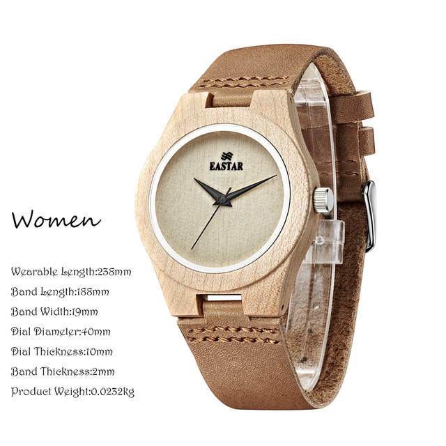 Eastar Wood Watch Women Lightweight Round Wrist Watch Luxury Brand Wooden Quartz Watches 1