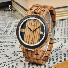 BOBO BIRD Wood Watch Men Relogio Masculino Luxury Design Quartz Ձեռքի ժամացույցներ փայտե նվերների տուփում DROP SHIPPING W * Q19
