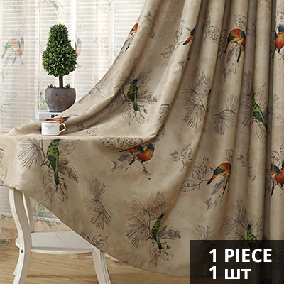 Vintage Birds Print Country Curtains For Living Room Bedroom Decorative Kitchen D Window Treatments Rustic Style