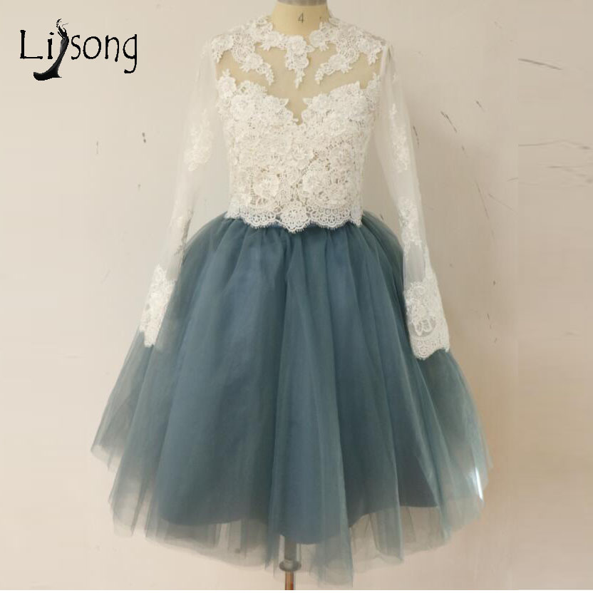 Pretty 2 Pieces   Bridesmaid     Dresses   Puff Full Sleeves 2018 Lace Blouse With Knee Length Tulle Skirts For Women To Wedding Party
